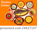 Russian cuisine dishes for dinner menu design 24627147