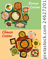 Chinese and korean cuisine dishes icon 24627201
