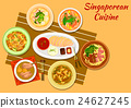 Singaporean cuisine popular dinner dishes icon 24627245