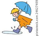 一个男孩弹出一把伞 24627409