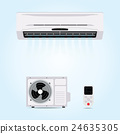 Air conditioner hanging on wall. 24635305