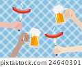 Glass of beer and sausage on blue background 24640391
