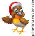 Cartoon Robin in Christmas Santa Hat 24645340