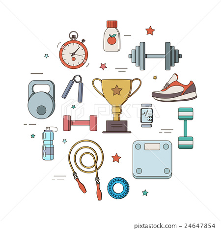 Set of fitness club line icons 24647854