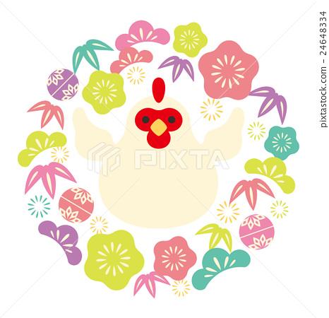 新年賀卡材料 公雞 竹與梅 24648334