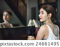 Woman Girl Coffee Shop Holidays Concept 24661495