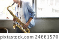 Jazzman Musical Artist Playing Saxophone Concept 24661570