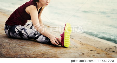 Yoga Exercise Active Beach Outdoor Concept 24661778