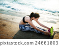 Yoga Exercise Active Beach Outdoor Concept 24661803