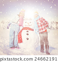 Little Girl and Boy Outdoors with Snowman 24662191
