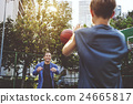Basketball Athlete Bounce Coaching Exercise Play Concept 24665817