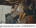 Woman Carnival Ride Riding Happiness Fun Concept 24666041