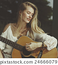 Woman Playing Guitar Music Beautiful Concept 24666079