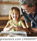 Little Girl Grandfather Bake Cookie Concept 24666097