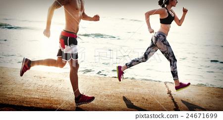 Yoga Exercise Active Beach Outdoor Concept 24671699