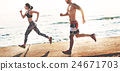 Yoga Exercise Active Beach Outdoor Concept 24671703