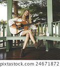 Woman Playing Guitar Music Beautiful Concept 24671872