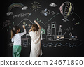 Blackboard Drawing Creative Imagination Idea Concept 24671890