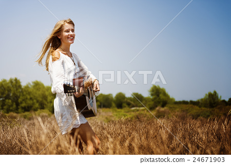 Hippie Woman Playing Music Concept 24671903