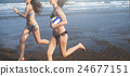 Women Friendship Playing Volleyball Beach Summer Concept 24677151