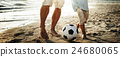 Father Son Playing Soccer Beach Summer Concept 24680065