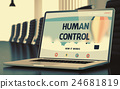 Human Control on Laptop in Meeting Room. 3D 24681819