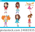 kid girls characters cartoon set 24683935