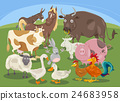 farm animals group cartoon 24683958
