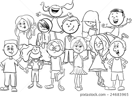 kids or teens coloring page - Stock Illustration [24683965 ...