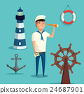 Captain or sailor with spyglass and lighthouse 24687901
