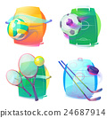 Hockey and tennis, volleyball, soccer gear icons 24687914