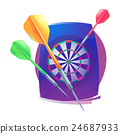 Darts icon. Badge Logo sporting symbols. 24687933