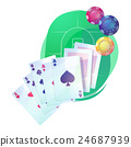 Texas holdem poker game cards and chips over 24687939