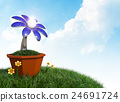 3D rendering Solar cells electric flower in a pot. 24691724