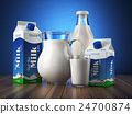 Milk. Glass jug, glass, bottle and carton packs 24700874