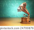 Vintage gramophone on green background. 24700876