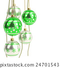 glossy green christmas bulbs isolated on white 24701543
