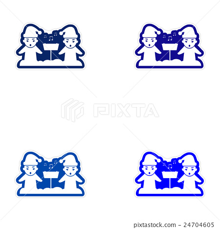 Set of paper stickers on white background children 24704605