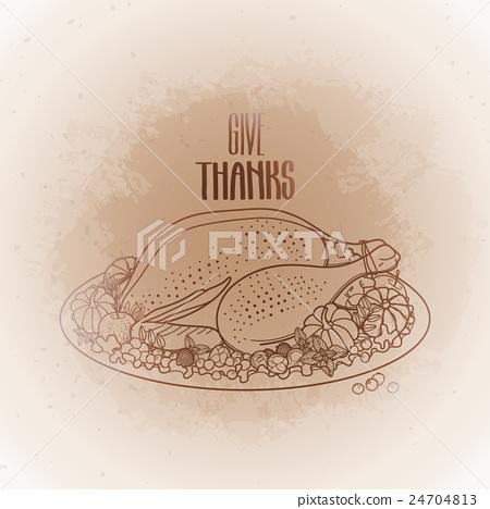 Graphic festive turkey 24704813