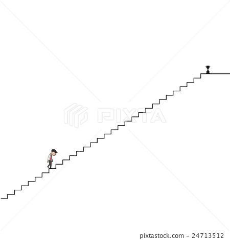 Man walking up long stairs cartoon drawing 24713512