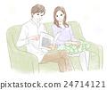 소파에 앉아 남성과 여성 24714121