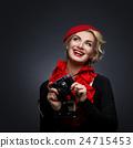 Beautiful lady with retro photo camera 24715453