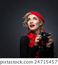 Beautiful lady with retro photo camera 24715457