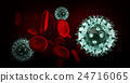 Virus in blood with red blood cells, 24716065