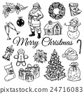 Holly jolly Merry Christmas vector set of icons 24716083