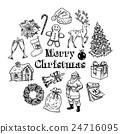 Holly jolly Merry Christmas vector set of icons 24716095