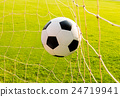 soccer ball in goal net 24719941