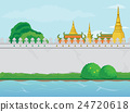 Buddhist Temple near a River with Blank Wall 24720618