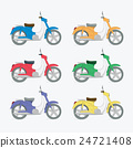 Set of colorful motorcycles 24721408