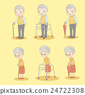 cartoon old couple holdng crutch 24722308